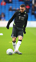 12th January 2020; Cardiff City Stadium, Cardiff, Glamorgan, Wales; English Championship Football, Cardiff City versus Swansea City; Matt Grimes of Swansea City warms up before the game - Strictly Editorial Use Only. No use with unauthorized audio, video, data, fixture lists, club/league logos or 'live' services. Online in-match use limited to 120 images, no video emulation. No use in betting, games or single club/league/player publications
