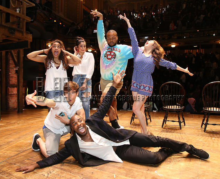 """Sasha Hollinger, Thayne Jasperson, Lauren Boyd, Justin Dine Bryant, Sean Green Jr. and Lexi Garcia during a Q & A before The Rockefeller Foundation and The Gilder Lehrman Institute of American History sponsored High School student #eduHam matinee performance of """"Hamilton"""" at the Richard Rodgers Theatre on May 9, 2018 in New York City."""