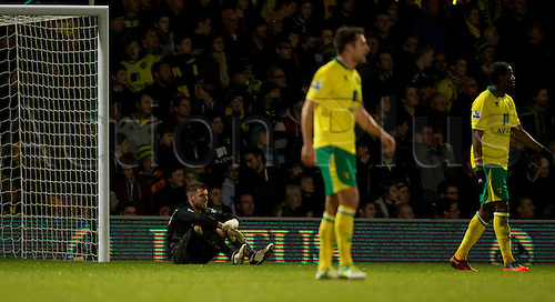29.12.2012 Norwich, England. Norwich keeper Mark Bunn reflects on his own goal during the Premier League game between Norwich and Manchester City from Carrow Road.