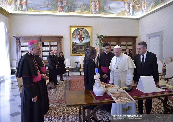 Pope Francis, Romania's Prime Minister Viorica Dancila during a private audience, at the Vatican, Friday, May 11, 2018.