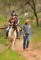 Shawn Wickum leads a group of riders after his horse stranded him.  Much of the wranglers time is spent breaking in new horses, many of which have never been ridden.
