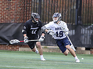 Washington, DC - April 7, 2018: Georgetown Hoyas Jake Carraway (19) runs with the ball during game between Providence and Georgetown at  Cooper Field in Washington, DC.   (Photo by Elliott Brown/Media Images International)