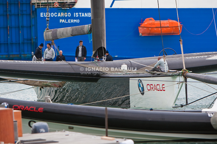 BMW Oracle Racing preparing to sail for the first time in Valencia. 16/1/2010 Valencia, Spain