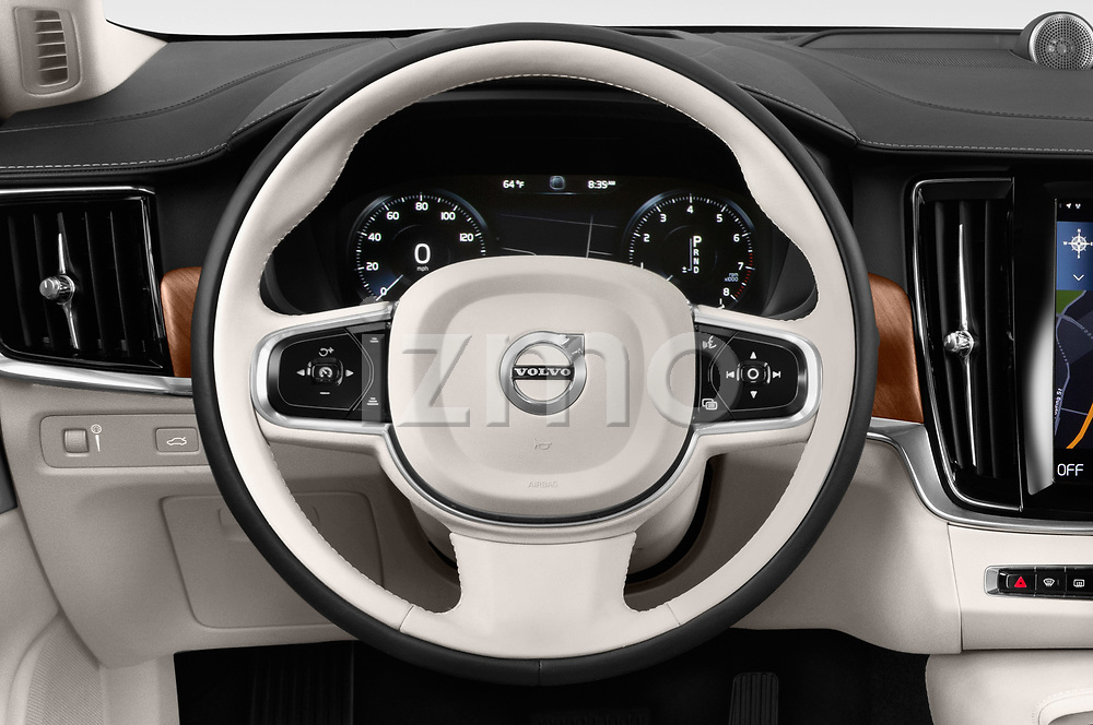 Car pictures of steering wheel view of a 2018 Volvo S90 T6 Inscription 4 Door Sedan