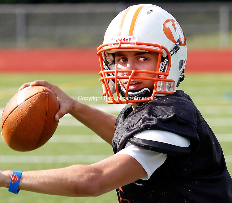 Watertown, CT- 02, September 2011-090211CM07  Watertown's Steve Niele works on passing drills at Watertown High School Friday afternoon.  Christopher Massa Republican-American
