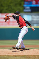 Hickory Crawdads starting pitcher Tim Brennan (15) in action against the Lakewood BlueClaws at L.P. Frans Stadium on April 28, 2019 in Hickory, North Carolina. The Crawdads defeated the BlueClaws 10-3. (Brian Westerholt/Four Seam Images)