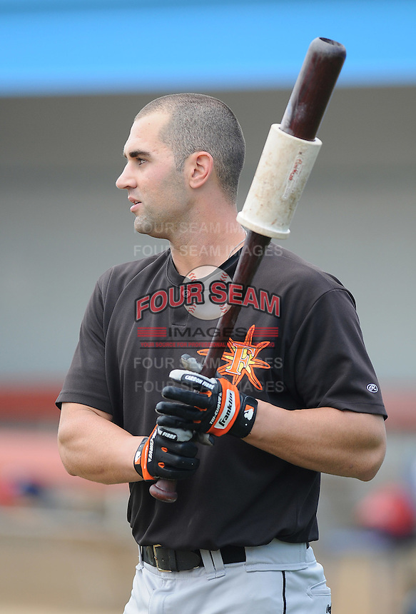 June 21, 2008: Outfielder Brandon Tripp (12) of the Frederick Keys, Carolina League affiliate of the Baltimore Orioles, prior to a game against the Potomac Nationals at G. Richard Pfitzner Stadium in Woodbridge, Va. Photo by:  Tom Priddy/Four Seam Images