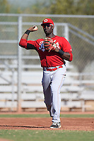 Cincinnati Reds infielder Montrell Marshall (9) during an Instructional League game against the Los Angeles Dodgers on October 11, 2014 at Goodyear Training Complex in Goodyear, Arizona.  (Mike Janes/Four Seam Images)