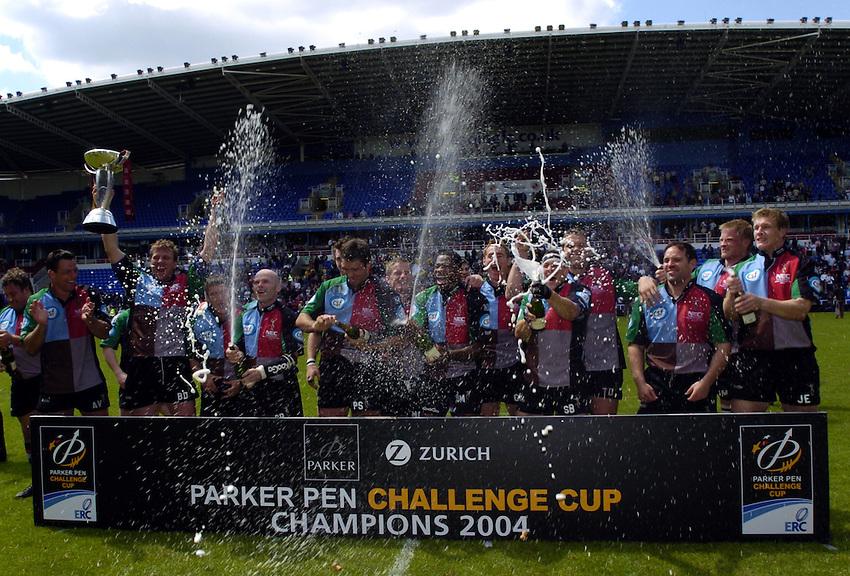 Photo: Richard Lane..Montferrand  v NEC Harlequins. Parker Pen Challenge Cup Final. 22/05/2004..Harlequins celebrate victory.