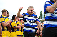 Ross Batty of Bath Rugby gives a thumbs up after the match. Aviva Premiership match, between Bath Rugby and Worcester Warriors on September 17, 2016 at the Recreation Ground in Bath, England. Photo by: Patrick Khachfe / Onside Images