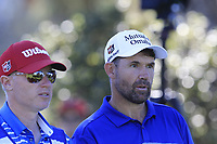 Padraig Harrington (IRL) and caddy Ronan Flood wait on the 13th tee at Pebble Beach course during Friday's Round 2 of the 2018 AT&amp;T Pebble Beach Pro-Am, held over 3 courses Pebble Beach, Spyglass Hill and Monterey, California, USA. 9th February 2018.<br /> Picture: Eoin Clarke | Golffile<br /> <br /> <br /> All photos usage must carry mandatory copyright credit (&copy; Golffile | Eoin Clarke)