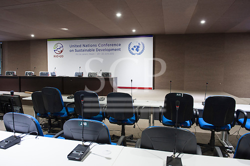 One of the conference suites at the Rio Centre, ready for the 3rd and final Preparatory Committee meeting which immediately preceeds the Rio+20 conference, with a battery of simultaneous interpreting microphone stands. United Nations Conference on Sustainable Development (Rio+20), Rio de Janeiro, Brazil. Photo © Sue Cunningham.