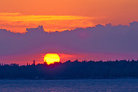 Sunrise on Georgian Bay (Lake Huron). Bruce Peninsula. <br />Tobermory<br />Ontario<br />Canada