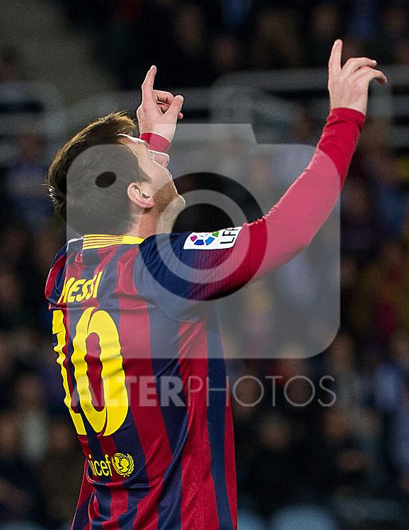 FC Barcelona's Leo Messi celebrates goal during La Copa match.February 12,2014. (ALTERPHOTOS/Mikel)