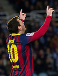 FC Barcelona's Leo Messi celebrates goal during La Copa match.February 12,2014. (ALTERPHOTOS/Mikel)