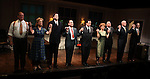 Joel Marsh Garland, Kelly Coffield Park, Robert Stanton, Lewis J. Stadlen, Anthony LaPaglia, Kathryn Erbe, Kevin O'Rourke, John Ottavino & Mark Shanahan during the Curtain Call for the Opening Celebration of 'Checkers' at the Vineyard Theatre in New York City on 11/11/2012