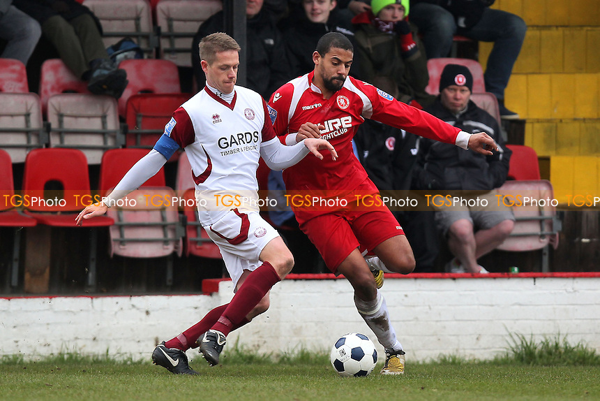 Justin Miller of Chelmsford tussles with Jake Reid of Welling - Welling United vs Chelmsford City - Blue Square Conference South Football at Park View Road - 29/03/13 - MANDATORY CREDIT: Gavin Ellis/TGSPHOTO - Self billing applies where appropriate - 0845 094 6026 - contact@tgsphoto.co.uk - NO UNPAID USE.