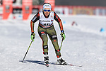 Sandra Ringwald in action at the sprint qualification of the FIS Cross Country Ski World Cup  in Dobbiaco, Toblach, on January 14, 2017. Credit: Pierre Teyssot