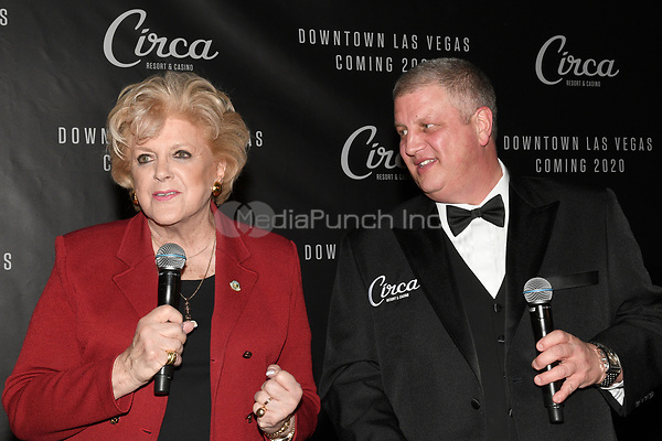 LAS VEGAS, NV - JANUARY 10:  Las Vegas Mayor Carolyn Goodman and Derek Stevens at the announcement of Circa Hotel & Casino set open in downtown Las Vegas December 2020 at the Downtown Las Vegas Events Center on January 10, 2019. Credit: Damairs Carter/MediaPunch