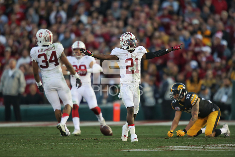 PASADENA, CA - JANUARY 1, 2016: The Stanford Cardinal defeats the Iowa Hawkeyes 45-16 in the 102nd playing of the Rose Bowl Game in Pasadena, California on Friday, January 1, 2015. The 2016 game marks the third appearance in the last four years.