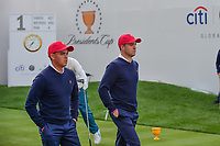 Justin Thomas (USA) and Rickie Fowler (USA) depart the first tee during round 3 Foursomes of the 2017 President's Cup, Liberty National Golf Club, Jersey City, New Jersey, USA. 9/30/2017.<br /> Picture: Golffile | Ken Murray<br /> <br /> All photo usage must carry mandatory copyright credit (&copy; Golffile | Ken Murray)