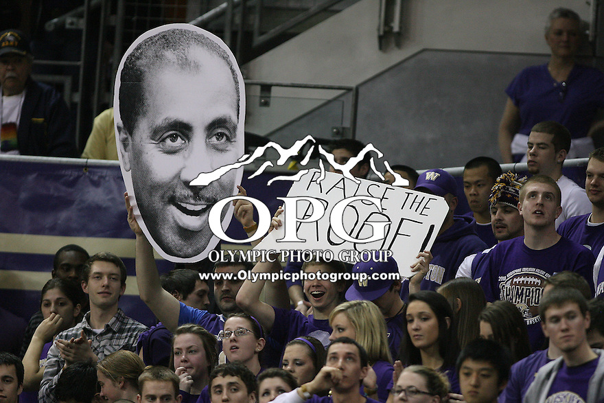 Mar 05, 2011:  Washington fans waved a giant paper head of Huskies head coach Lorenzo Romar in the stands during the game against USC.  USC defeated Washington 62-60 at Alaska Airlines Arena Seattle, Washington...