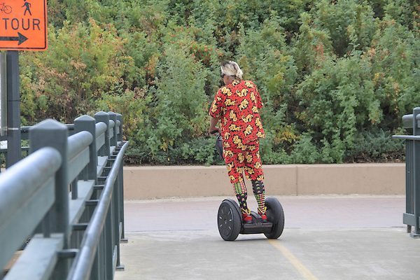 Man on Segway, Denver, Colorado, USA. .  John offers private photo tours in Denver, Boulder and throughout Colorado. Year-round.