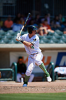 Augusta GreenJackets Jacob Gonzalez (18) at bat during a South Atlantic League game against the Lexington Legends on April 30, 2019 at SRP Park in Augusta, Georgia.  Augusta defeated Lexington 5-1.  (Mike Janes/Four Seam Images)