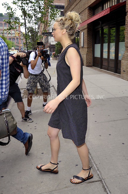 WWW.ACEPIXS.COM<br /> <br /> June 11 2015, New York City<br /> <br /> Actress Jennifer Lawrence leaving a downtown hotel on June 11 2015 in New York City.<br /> <br /> <br /> Please byline: Curtis Means/ACE Pictures<br /> <br /> ACE Pictures, Inc.<br /> www.acepixs.com, Email: info@acepixs.com<br /> Tel: 646 769 0430