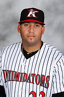 Kannapolis Intimidators pitcher Kelvis Valerio (22) poses for a photo prior to the game against the Delmarva Shorebirds at Kannapolis Intimidators Stadium on July 2, 2017 in Kannapolis, North Carolina.  The Shorebirds defeated the Intimidators 5-4.  (Brian Westerholt/Four Seam Images)