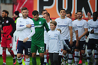Preston North End's Paul Gallagher leads his side out<br /> <br /> Photographer Kevin Barnes/CameraSport<br /> <br /> The Carabao Cup - Accrington Stanley v Preston North End - Tuesday 8th August 2017 - Crown Ground - Accrington<br />  <br /> World Copyright &copy; 2017 CameraSport. All rights reserved. 43 Linden Ave. Countesthorpe. Leicester. England. LE8 5PG - Tel: +44 (0) 116 277 4147 - admin@camerasport.com - www.camerasport.com