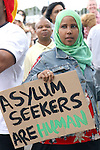 Amran Abdalla who is an Asylum seeker in, Mosney, Co Meath protesting this morning as 150 people are being moved to alternative accommodation...Photo NEWSFILE/Jenny Matthews.(Photo credit should read Jenny Matthews/NEWSFILE)....This Picture has been sent you under the condtions enclosed by:.Newsfile Ltd..The Studio,.Millmount Abbey,.Drogheda,.Co Meath..Ireland..Tel: +353(0)41-9871240.Fax: +353(0)41-9871260.GSM: +353(0)86-2500958.email: pictures@newsfile.ie.www.newsfile.ie.FTP: 193.120.102.198.