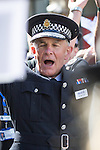 "© Joel Goodman - 07973 332324 . 23/08/2014 .  Manchester , UK . The Chief Constable of Greater Manchester Police , SIR PETER FAHY , dancing to the YMCA , played by the Police Band . The parade through Manchester City Centre . Manchester Pride "" Big Weekend "" in Manchester "" today ( 23rd August 2014 ) . Photo credit : Joel Goodman"