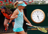 La russa Daria Gavrilova esulta dopo aver vinto un punto contro la statunitense Christina McHale durante gli Internazionali d'Italia di tennis a Roma, 15 maggio 2015. <br /> Russia's Daria Gavrilova celebrates after winning a point against Christina McHale, of the US, during the Italian Open tennis tournament in Rome, 15 May 2015.<br /> UPDATE IMAGES PRESS/Riccardo De Luca