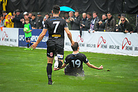 Team Wellington's Ross Allen celebrates scoring the opening goal during the Oceania Football Championship final (first leg) football match between Team Wellington and Lautoka FC at David Farrington Park in Wellington, New Zealand on Sunday, 13 May 2018. Photo: Mike Moran / lintottphoto.co.nz