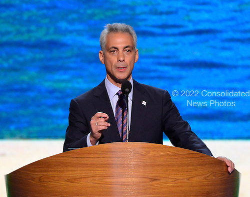 Mayor Rahm Emanuel of Chicago, Illinois makes remarks at the 2012 Democratic National Convention in Charlotte, North Carolina on Tuesday, September 4, 2012.  .Credit: Ron Sachs / CNP.(RESTRICTION: NO New York or New Jersey Newspapers or newspapers within a 75 mile radius of New York City)