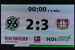 10.03.2019, HDI Arena, Hannover, GER, 1.FBL, Hannover 96 vs Bayer 04 Leverkusen<br /> <br /> DFL REGULATIONS PROHIBIT ANY USE OF PHOTOGRAPHS AS IMAGE SEQUENCES AND/OR QUASI-VIDEO.<br /> <br /> im Bild / picture shows<br /> Anzeigetafel / Endstand, Feature, <br /> <br /> Foto &copy; nordphoto / Ewert