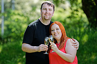Pictured: Lotto millionaires William and Sophie Richards at the Towers Hotel near Swansea, Wales, UK. Tuesday 22 May 2018<br /> Re: Self-employed William Richards, 32 and wife Sophie, a couple from Swansea are the latest lotto millionaires having won &pound;1m. The ticket was baught while out buying peas for dinner.