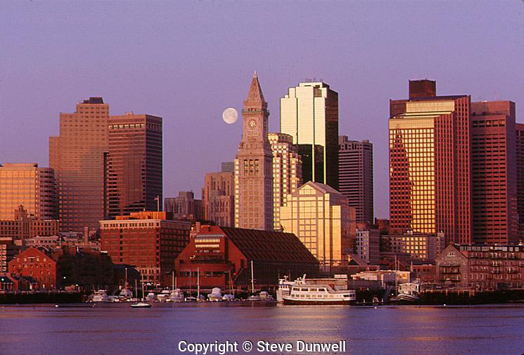 harbor skyline dawn with moon, Boston, MA from East Boston
