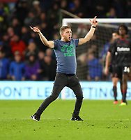 31st January 2020; Cardiff City Stadium, Cardiff, Glamorgan, Wales; English Championship Football, Cardiff City versus Reading; A Cardiff City fan runs onto the pitch in celebration after Cardiff City equalize in the second half