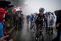 Bob Jungels (LUX/Deceuninck - Quick Step) up the extremely wet, cold & misty Cole di Mortirolo <br /> <br /> Stage 16: Lovere to Ponte di Legno (194km)<br /> 102nd Giro d'Italia 2019<br /> <br /> ©kramon