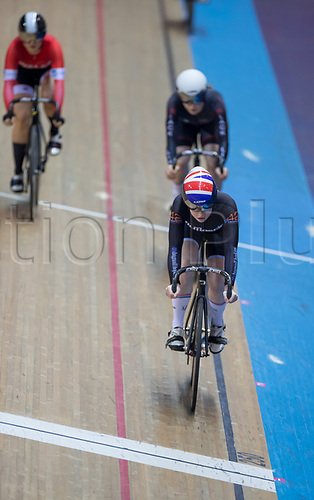 25th January 2020; National Cycling Centre, Manchester, Lancashire, England; HSBC British Cycling Track Championships; Emma Finucane wins the first semi final of the women's keirin