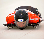 14 December 2007: Carla Pavan, racing for Canada, starts her second run of the FIBT World Cup Skeleton Competition at the Olympic Sports Complex on Mount Van Hoevenberg, at Lake Placid, New York, USA. Pavan ended third for the day, after setting a track record in her first run...Mandatory Photo Credit: Ed Wolfstein Photo