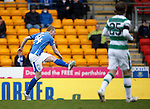 St Johnstone v Celtic...13.12.15  SPFL  McDiarmid Park, Perth<br /> Brian Easton's long ranbge shot hits the upright<br /> Picture by Graeme Hart.<br /> Copyright Perthshire Picture Agency<br /> Tel: 01738 623350  Mobile: 07990 594431