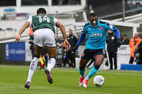 Fleetwood Town's Amari'i Bell confronts Plymouth Argyle's Jake Jervis<br /> <br /> Photographer Andrew Kearns/CameraSport<br /> <br /> The EFL Sky Bet League One - Plymouth Argyle v Fleetwood Town - Saturday 7th October 2017 - Home Park - Plymouth<br /> <br /> World Copyright &copy; 2017 CameraSport. All rights reserved. 43 Linden Ave. Countesthorpe. Leicester. England. LE8 5PG - Tel: +44 (0) 116 277 4147 - admin@camerasport.com - www.camerasport.com
