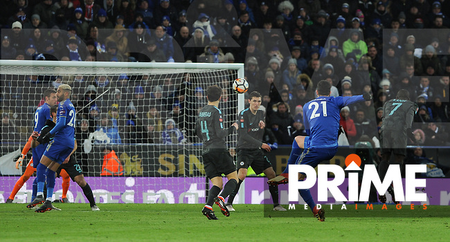 Vicente Iborra of Leicester City hits a shot at goal during the FA Cup QF match between Leicester City and Chelsea at the King Power Stadium, Leicester, England on 18 March 2018. Photo by Stephen Buckley / PRiME Media Images.