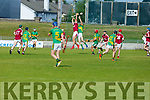 Causeway's Jason Diggins and Shane Conway jumps for the sliotar in R2 of the Senior Hurling Championship in Austin Stack Park on Sunday.