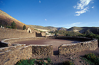 Old bullring in the 19th-century  silver-mining town of Real de Catorce, San Luis Potosi state, Mexico. Real de Catorce became a virtual ghost town during the early part of the 20th century. It has recently become a popuar destination for travellers.