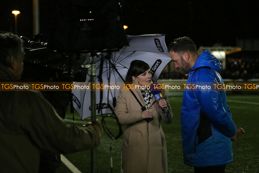 BT Sport Presenter and Reporter, Natalie Quirk, interviews Maidstone Manager, Jay Saunders pre-match during Maidstone United vs Dover Athletic, Vanarama National League Football at the Gallagher Stadium on 1st January 2017