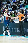 Tornike Shengelia<br />  (l) and referee Sergio Manuel during Real Madrid vs Kirolbet Baskonia game of Liga Endesa. 19 January 2020. (Alterphotos/Francis Gonzalez)